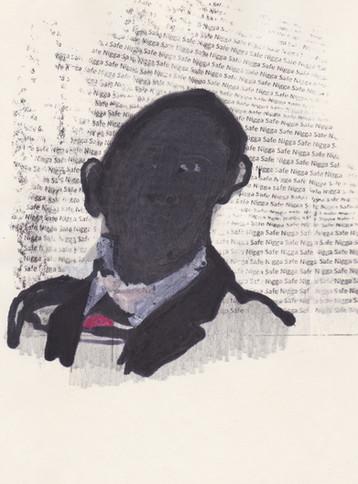 """Obama 12,2016 -Ink, graphite & correction fluid on tore Moleskine sketchbook paper 3 ½"""" x 5 ½"""""""
