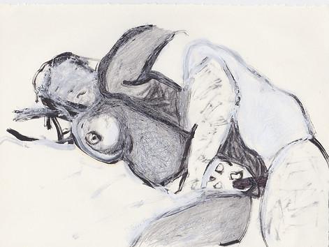 "Porn 7 - Oil, graphite & correction fluid on tore Moleskine sketchbook paper 3 ½"" x 5 ½"""