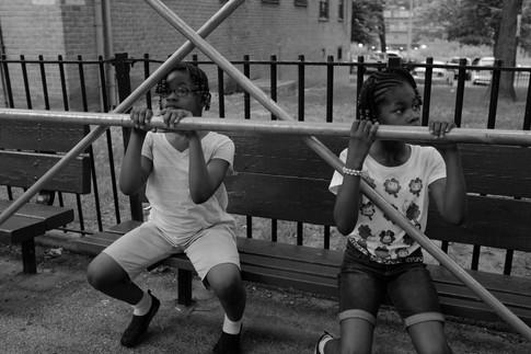 Girls on Bench, 2017. Bronx, NY.