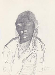 "2011 -Graphite & white-out on toreMoleskine sketchbook paper3 ½"" x 5 ½"""