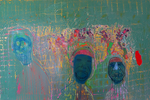 Three Heads, 2016. Oil on canvas. 24 x 36 inches
