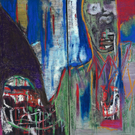 Untitled, 2009 (Diptych). Oil on canvas. 36 x 36 inches