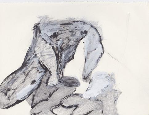 "Porn 9 - Oil, graphite & correction fluid on tore Moleskine sketchbook paper 3 ½"" x 5 ½"""