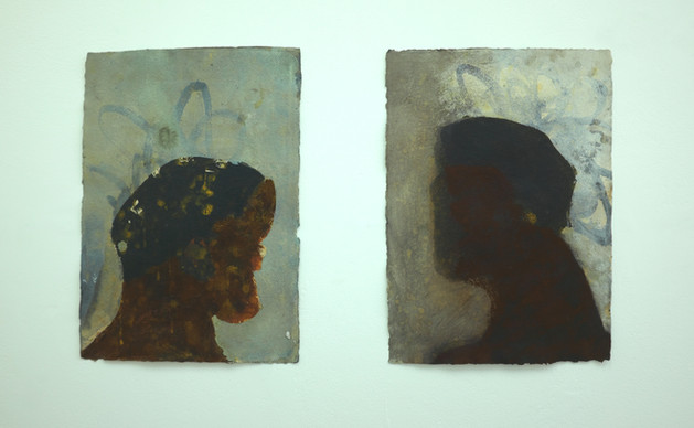 Head 1 & 2, 2019. Acrylic and pastel on handmade A3 paper