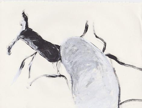 "Porn 2 - Oil, graphite & correction fluid on tore Moleskine sketchbook paper 3 ½"" x 5 ½"""