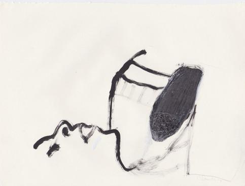 "Porn 3 - Oil, graphite & correction fluid on tore Moleskine sketchbook paper 3 ½"" x 5 ½"""