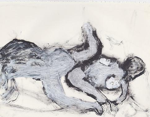 "Porn 5 - Oil, graphite & correction fluid on tore Moleskine sketchbook paper 3 ½"" x 5 ½"""