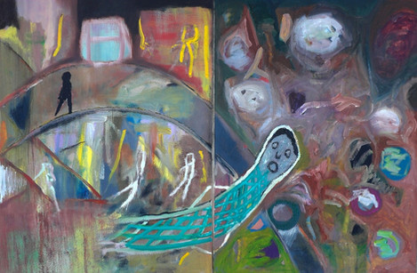 Dream, 2010 (Diptych). Oil on canvas. 24 x 36 inches
