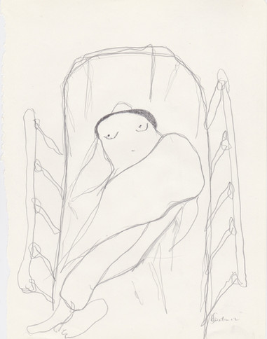 """2012- Graphite & white-out on tore Moleskine sketchbook paper 3 ½"""" x 5 ½"""""""