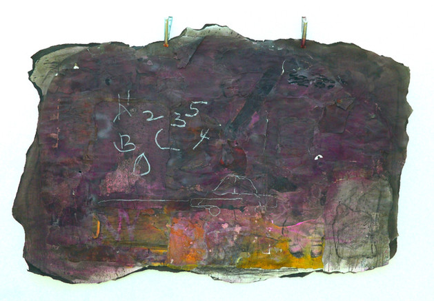 ABCD-12345, 2018. Metal clamps, multiple layering of paper, acrylic ink, charcoal, oil, chalk pastel & found brown paper bags on Paper. 53 x 81 inches