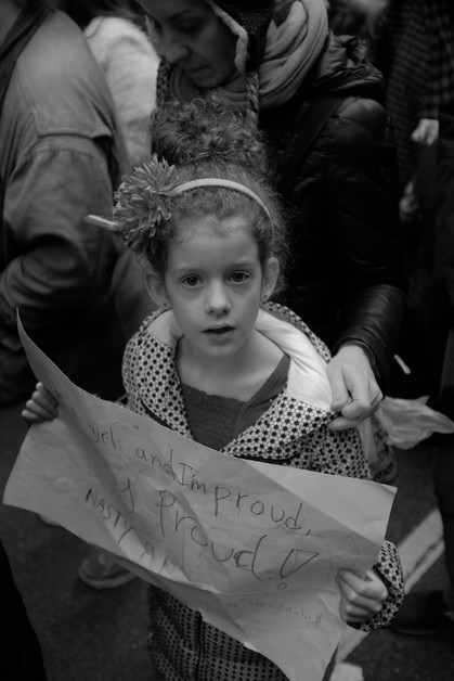 Girl with Sign.  New York City, 2017