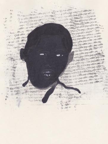 """Obama 2,2016 -Ink, graphite & correction fluid on tore Moleskine sketchbook paper 3 ½"""" x 5 ½"""""""
