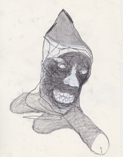 """2014 - Graphite & white-out on tore Moleskine sketchbook paper 3 ½"""" x 5 ½"""""""