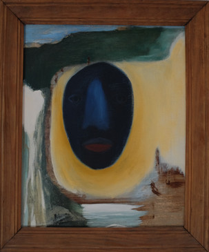 Head Afloat, 2014 (Artist frame). Oil on canvas. 16 x 20 inches