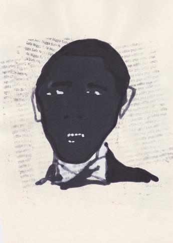 """Obama 1,2016 -Ink, graphite & correction fluid on tore Moleskine sketchbook paper 3 ½"""" x 5 ½"""""""
