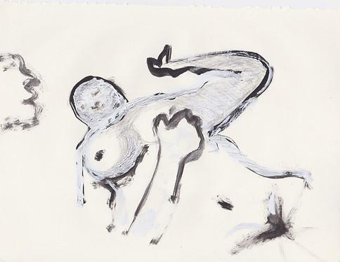 "Porn 8 - Oil, graphite & correction fluid on tore Moleskine sketchbook paper 3 ½"" x 5 ½"""