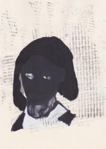 """Barrack 7,2016 -Ink, graphite & correction fluid on tore Moleskine sketchbook paper 3 ½"""" x 5 ½"""""""