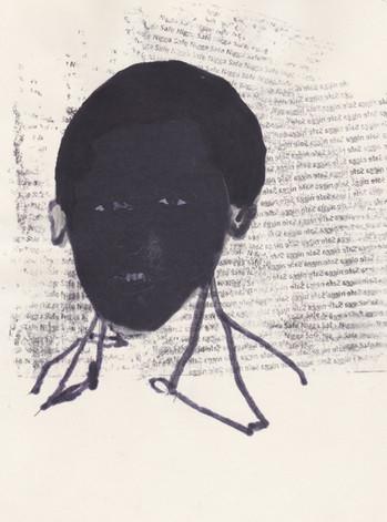 """Obama 4,2016 -Ink, graphite & correction fluid on tore Moleskine sketchbook paper 3 ½"""" x 5 ½"""""""
