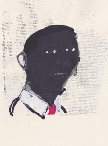 """Obama 6,2016 -Ink, graphite & correction fluid on tore Moleskine sketchbook paper 3 ½"""" x 5 ½"""""""