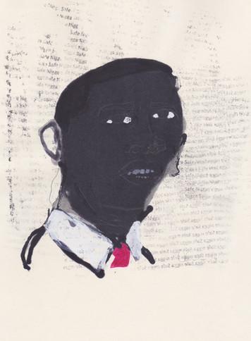 """Barrack 6,2016 -Ink, graphite & correction fluid on tore Moleskine sketchbook paper 3 ½"""" x 5 ½"""""""