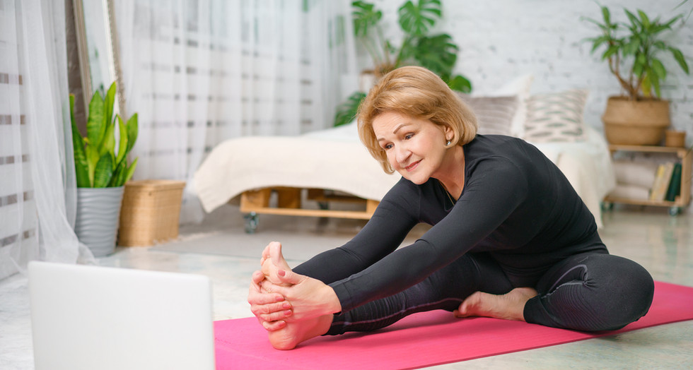 Fitness training online, senior woman at