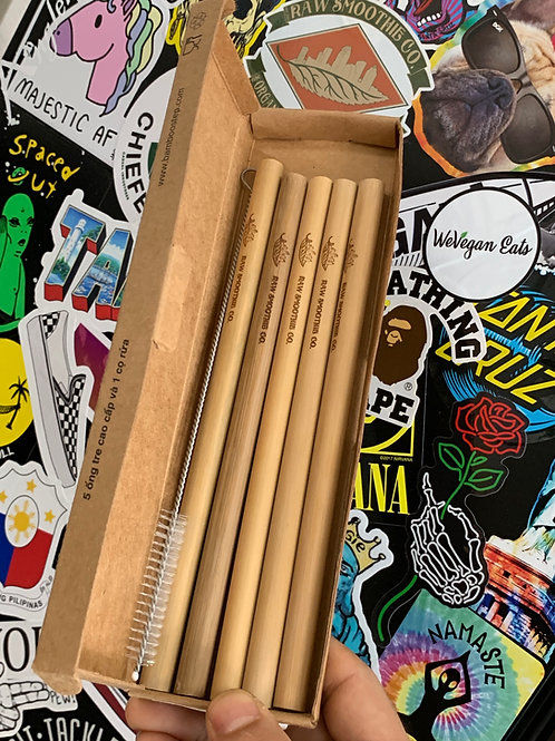 RSC Reusable Wide Mouth Bamboo Straws - 5 Pack