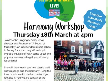 TwM LIVE! Harmony workshop