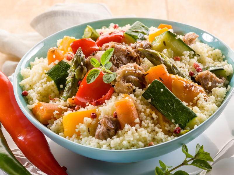 A dish with vegetables and couscous for Shabbat