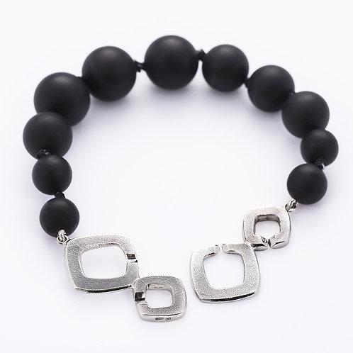 Roughbubble bracelet with onyx stone