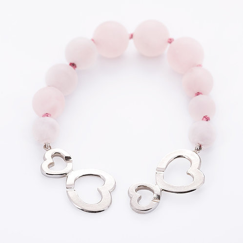 Bubblelove bracelet with rosen quartz stones