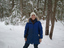 Kim out snowshoeing