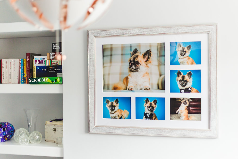 Example of framed wall art hung in a home