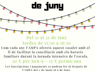 Casalettardes de juny al Pau Vila!!!
