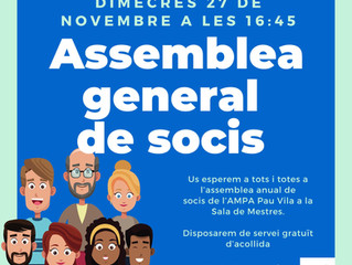 Assemblea General de Socis. AMPA Pau Vila.