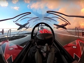 RAAF Roulettes Fly over Port Macquarie at Dusk