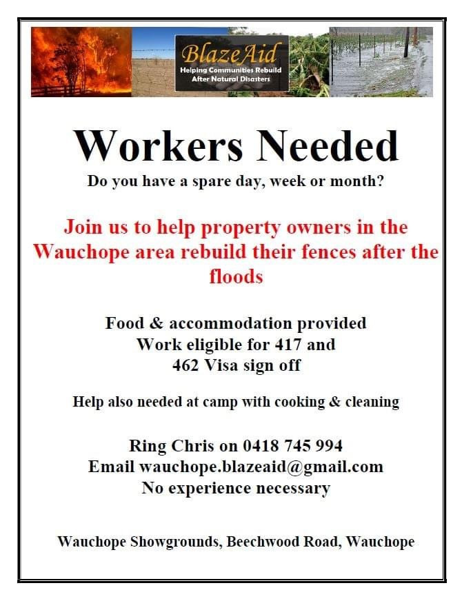 Help needed at BlazeAid. Many hands make light work, featured on Brilliant-Online