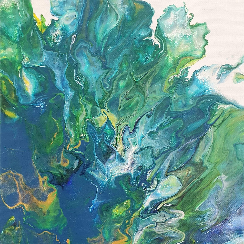 'Forrest' - rich blues, greens, gold, Utopian Living Artwork, Michele Cook, feature by Brilliant-Online