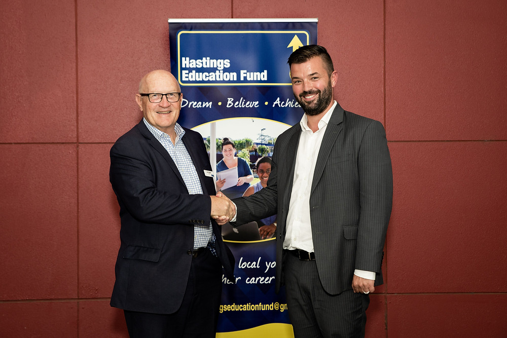 Matthew McCarron CEO of major HEF sponsor Lewis Land Group/Sovereign Hills pictured with HEF Chair Jim O'Brien