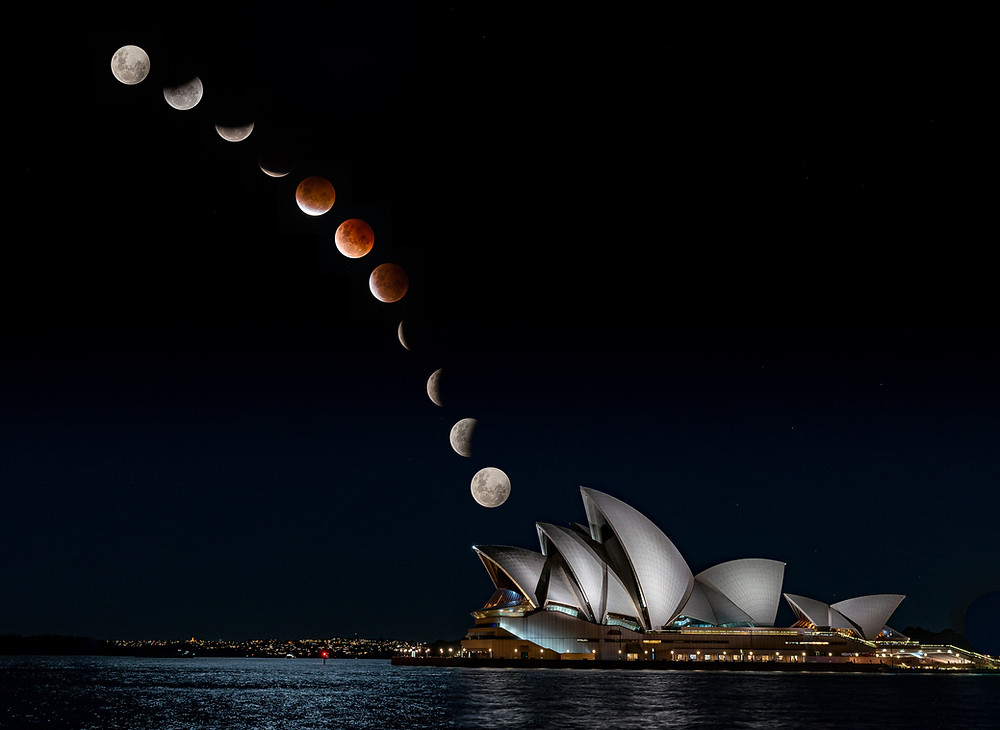 Amazing composite by Andy Cheung at Sydney Harbour Foreshore, Blood Moon, Lunar Eclipse, Brilliant-Online