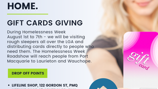 Gift Cards for Local People Without a Home