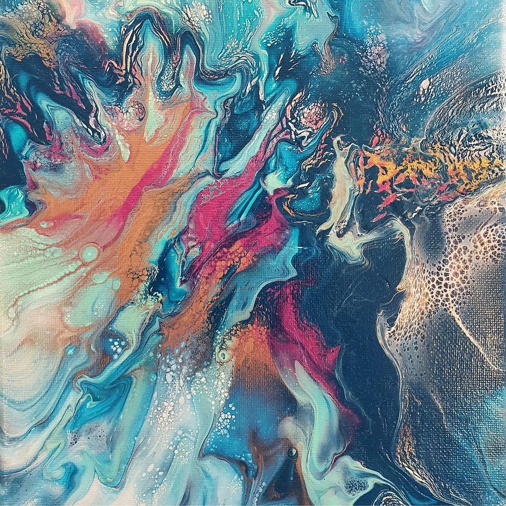 'Florence' - Rich blues, Aqua, Pink, Copper, Utopian Living Artwork, Michele Cook, feature by Brilliant-Online