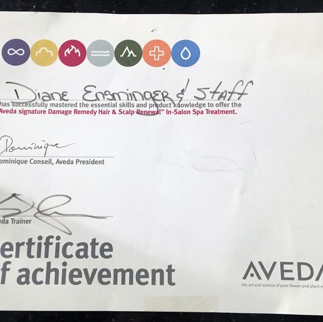 Aveda Certificate of Achievement