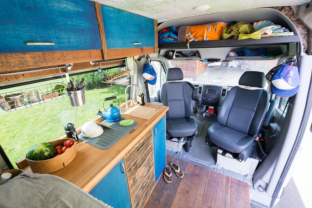 Van Seat Swivels and Overhead Sprinter Cab Shelf