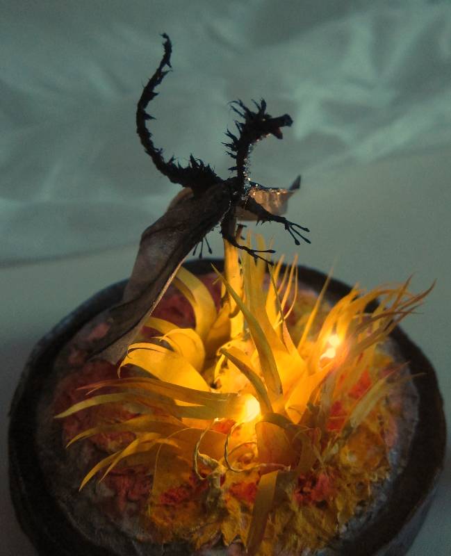 Black Dragon with fire