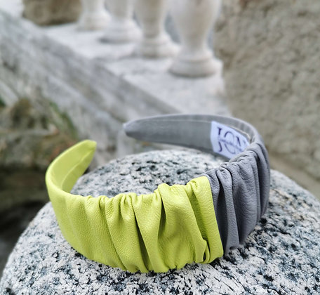 Headband in Grey and Yellow Faux Leather - Pantone 2021