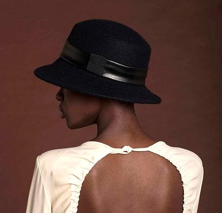 Cappello Nero in Feltro di Lana con 2 Fasce Intercambiabili