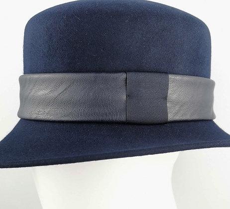 Fascia per Cappello in Eco Pelle Blu Notte