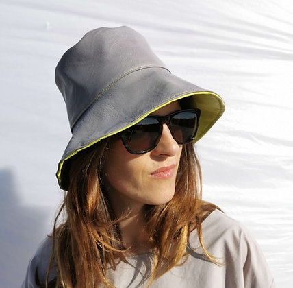 Bucket Hat in Grey and Yellow Vegan Leather