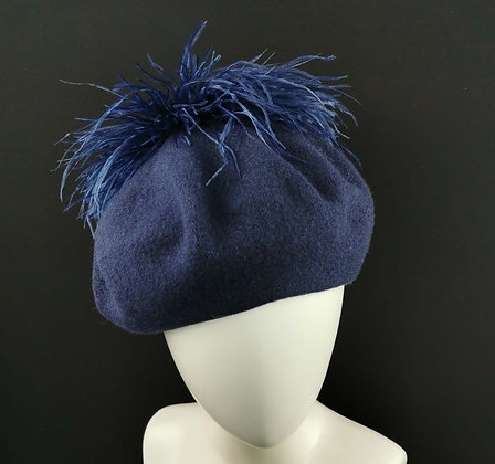 Blue Beret with blue ostrich feathers pom pom