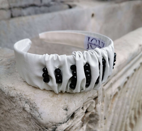 Headband in White Faux Leather and Black Beads